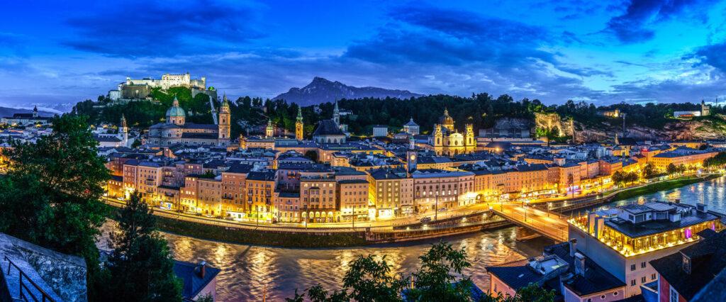 Salzburg panorama from Kapuzinerberg down to the historical old city at night
