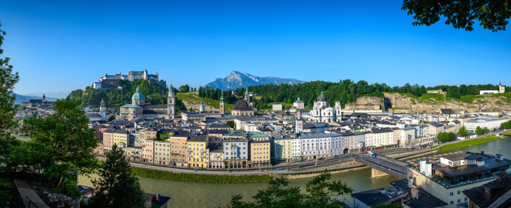 Panorama of Salzburg during summer season with a view to the Old Town of Salzburg and Salzach